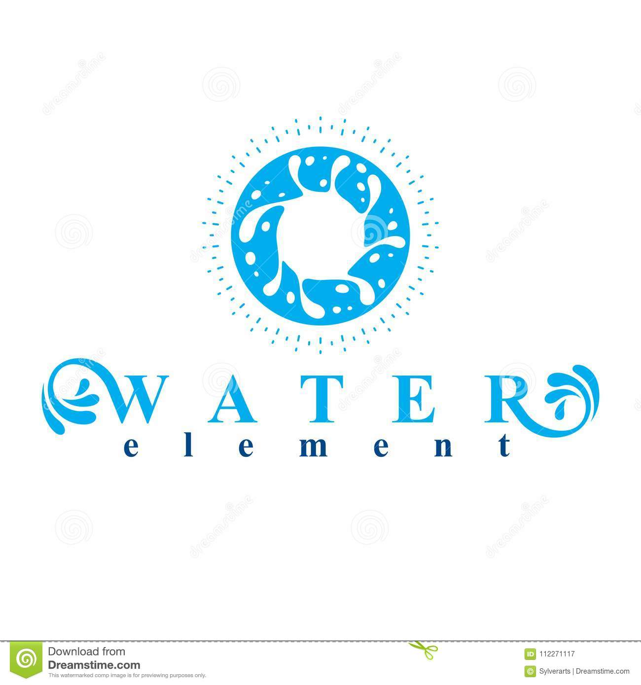 Sea Wave Splash Vector Symbol Isolated On White Water Treatment