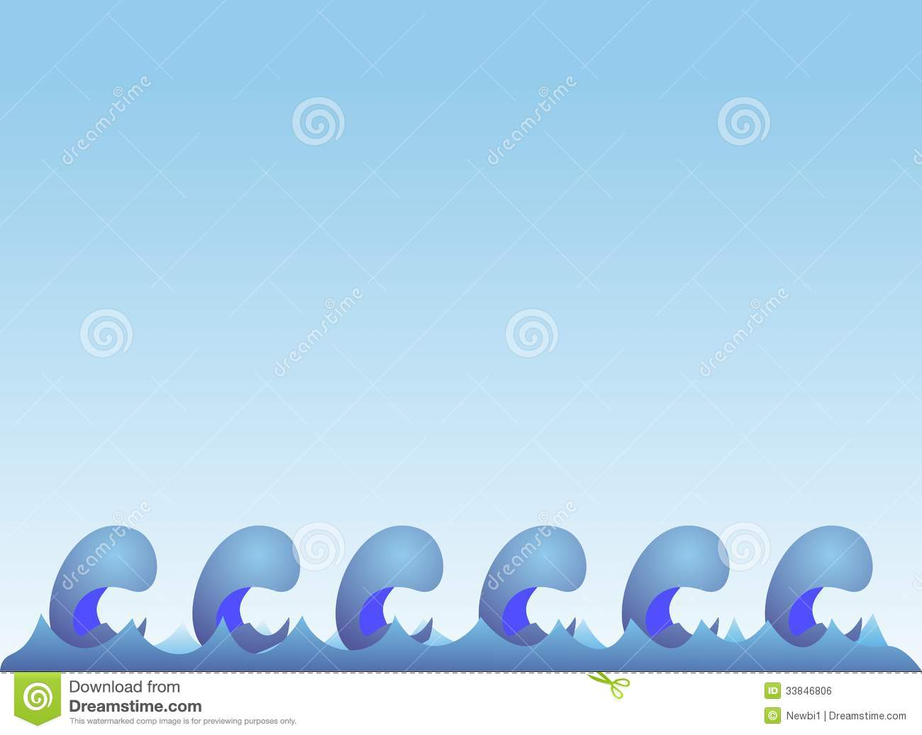 sea waves on blue gradient background royalty free stock