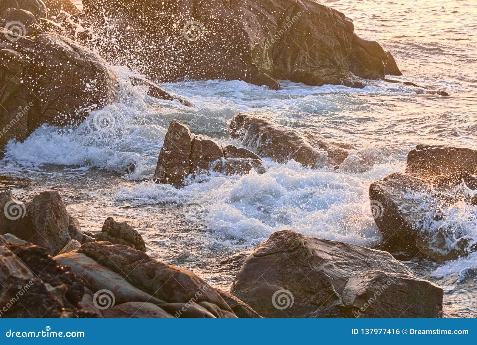 Sea waves crashing on coastal rocks in the rays