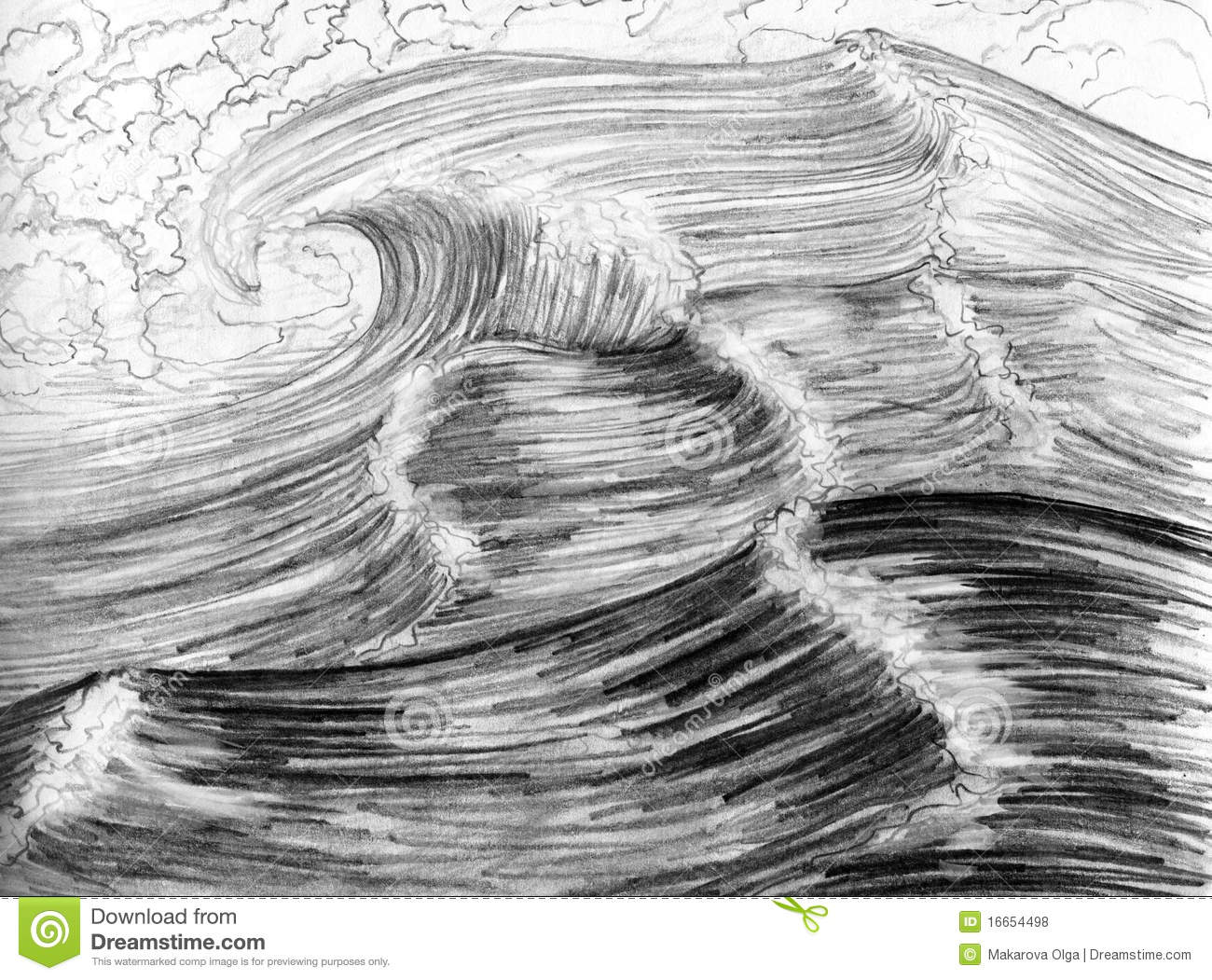 Sea waves hand drawn stock illustration image of wave 16654498 royalty free stock photo ccuart Gallery