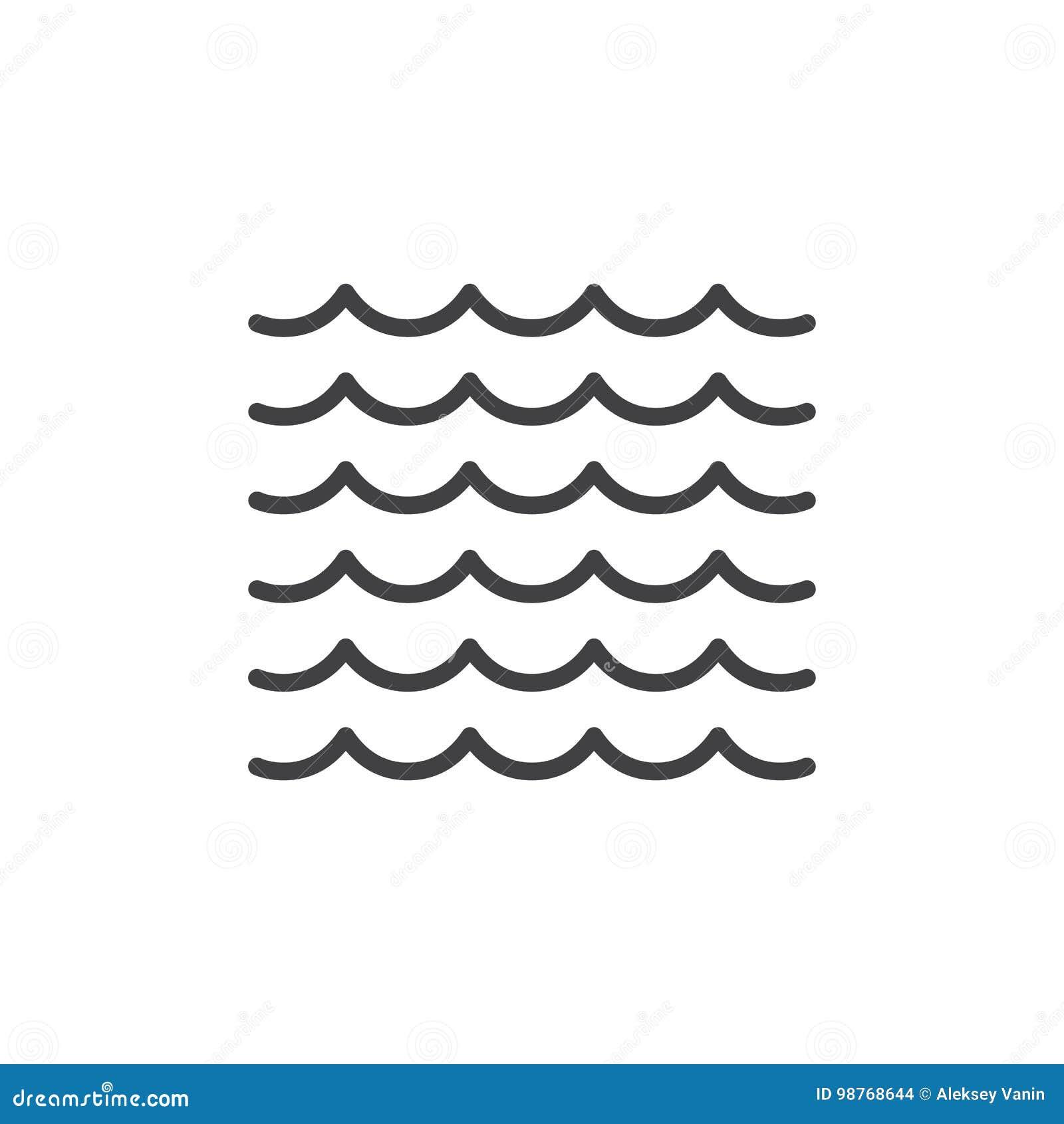 Sea waves line icon