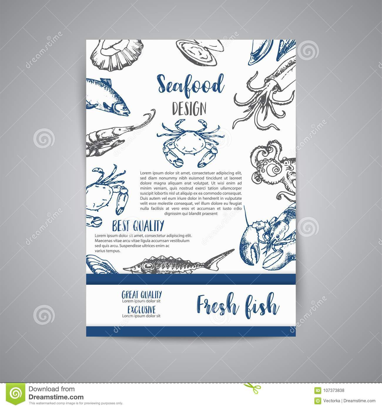 Seafood banner vector template set hand drawn vector illustrations gift certificate sketch download comp yelopaper Gallery