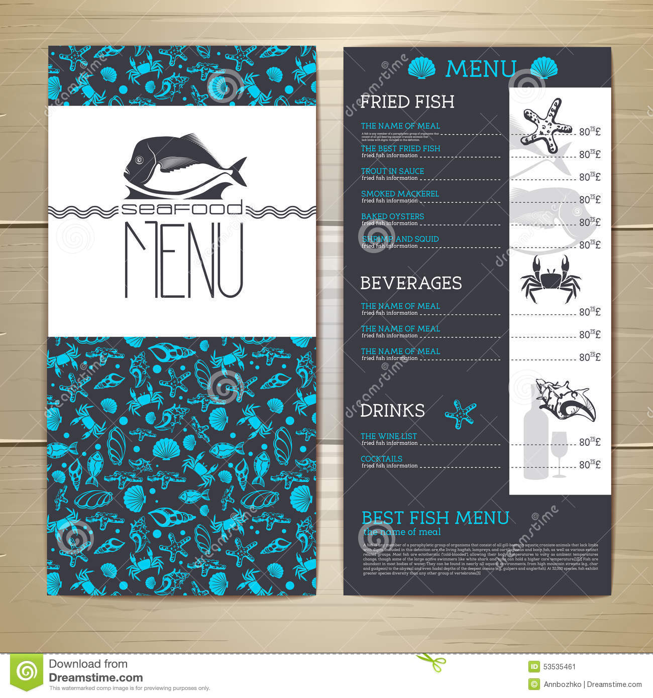 seafood cafe menu design  stock vector  illustration of