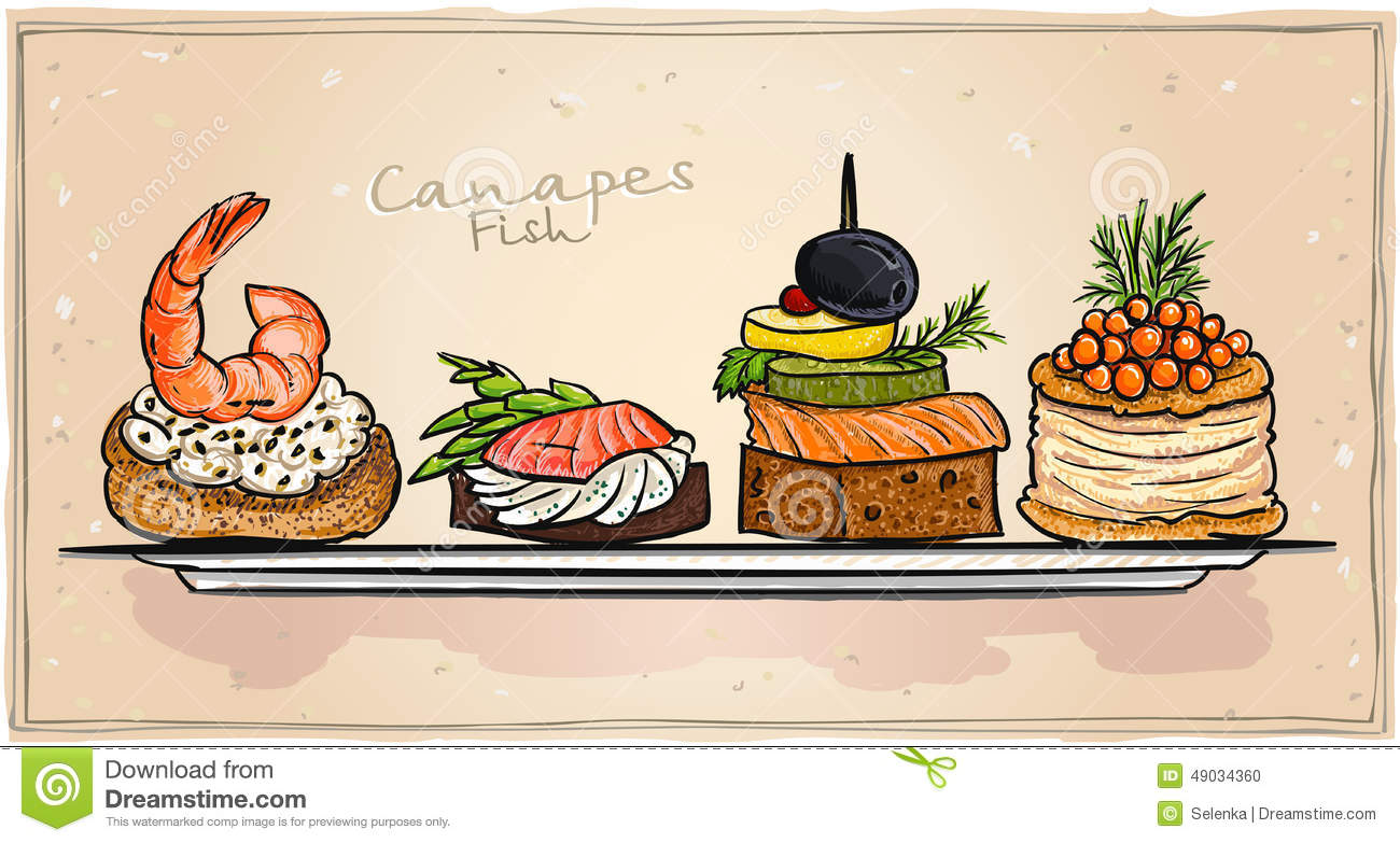 Seafood canapes set with salmon red caviar and shrimp for Canape vector download