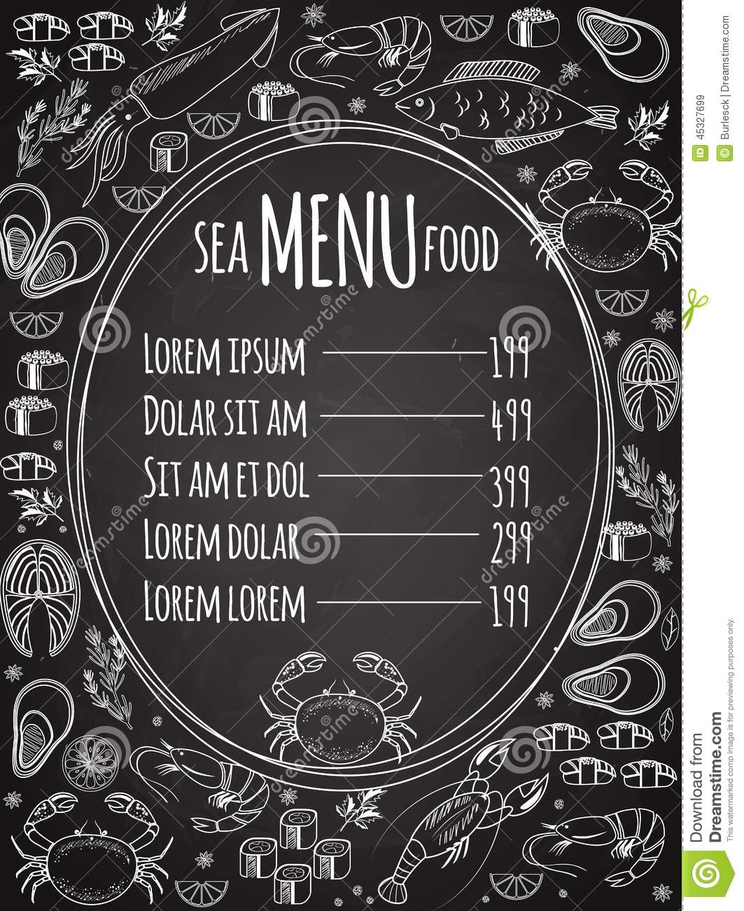 Seafood Chalkboard Menu Template Stock Vector - Image: 45327699