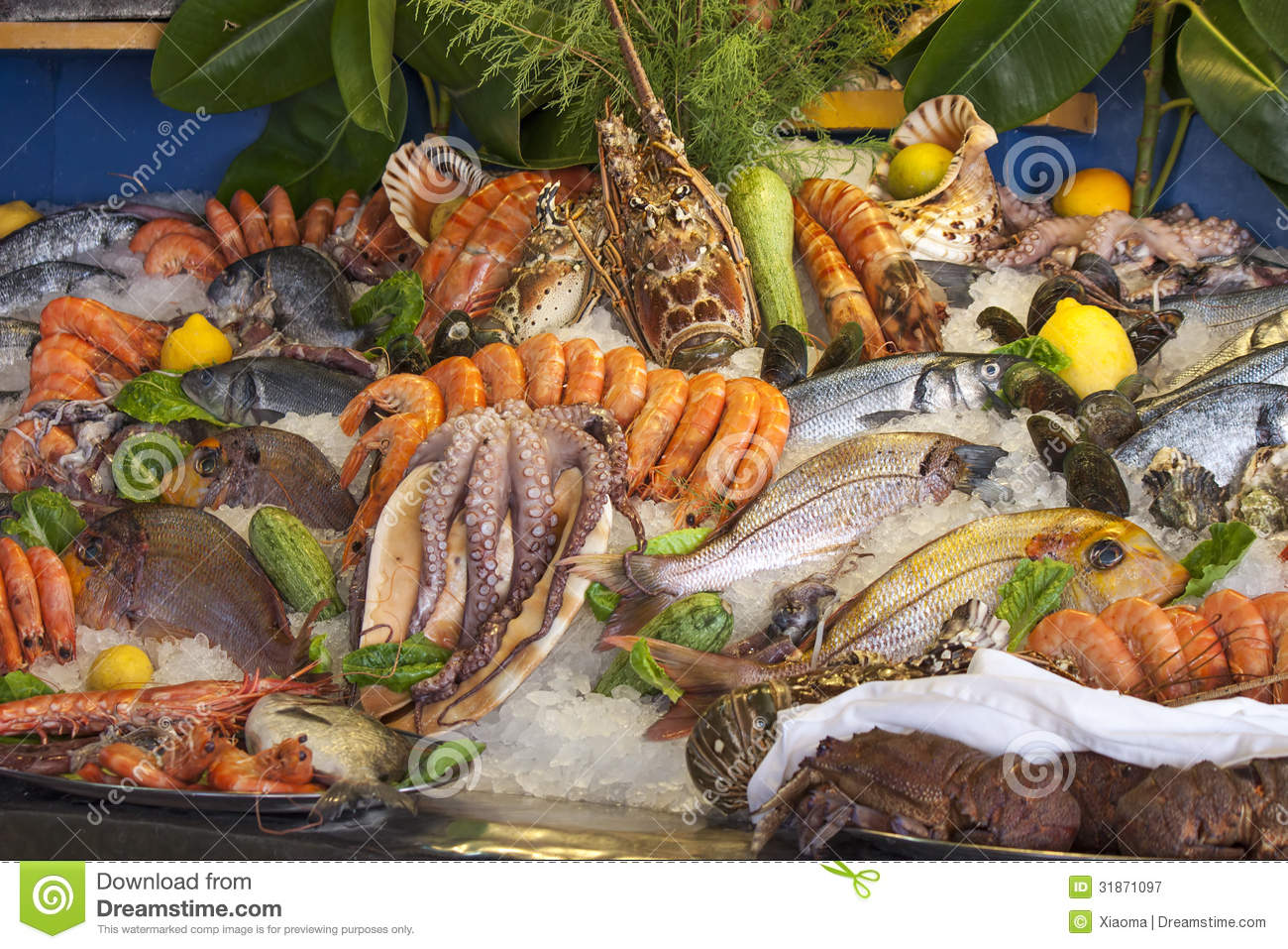 Seafood crustaceans and fish stock image image 31871097 for Is fish seafood