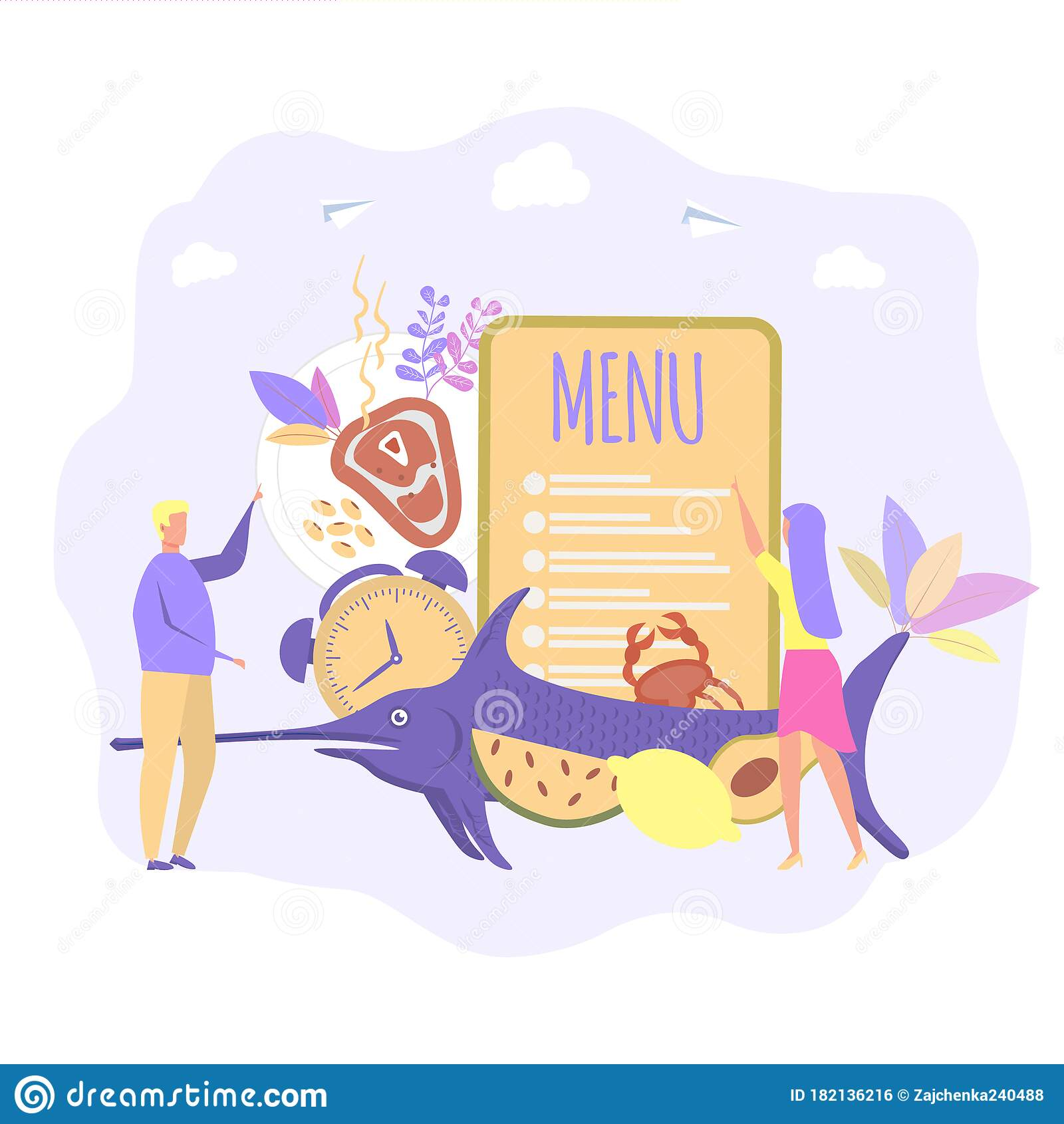 Seafood Diet Menu Proper Nutrition Healthy Food Seafood Restaurant Concept Colorful Vector Illustration Stock Illustration Illustration Of Natural Graphic 182136216