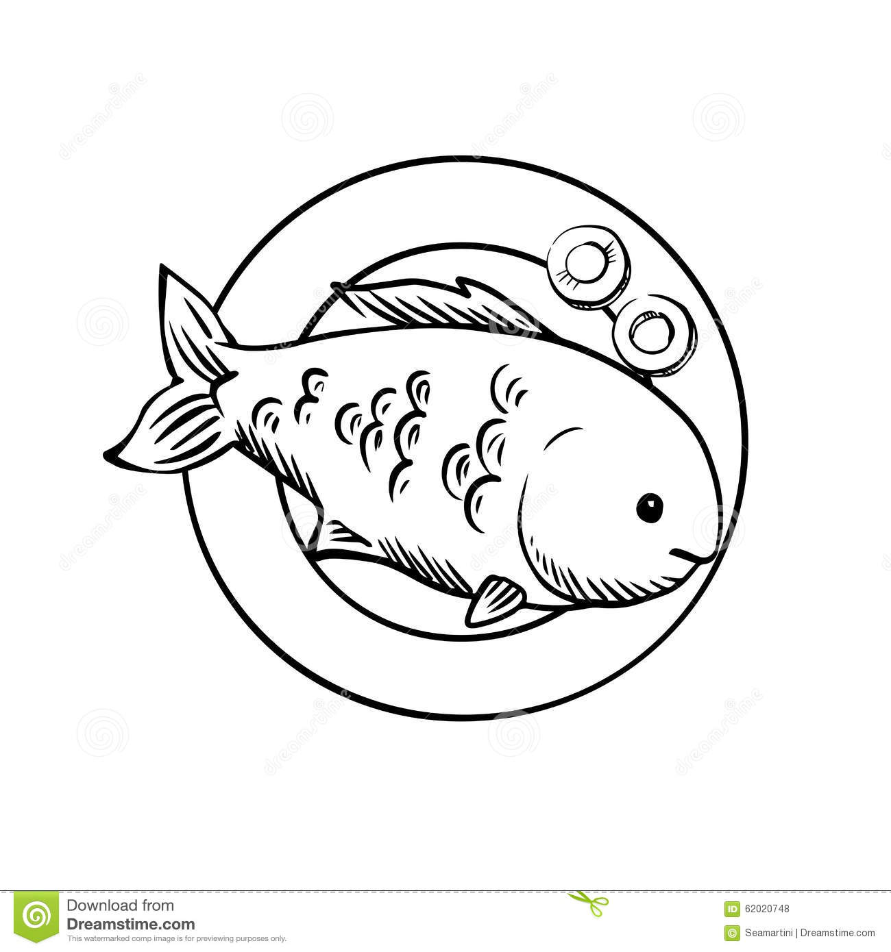 Seafood Dish With Grilled Ocean Fish Stock Vector - Image ...
