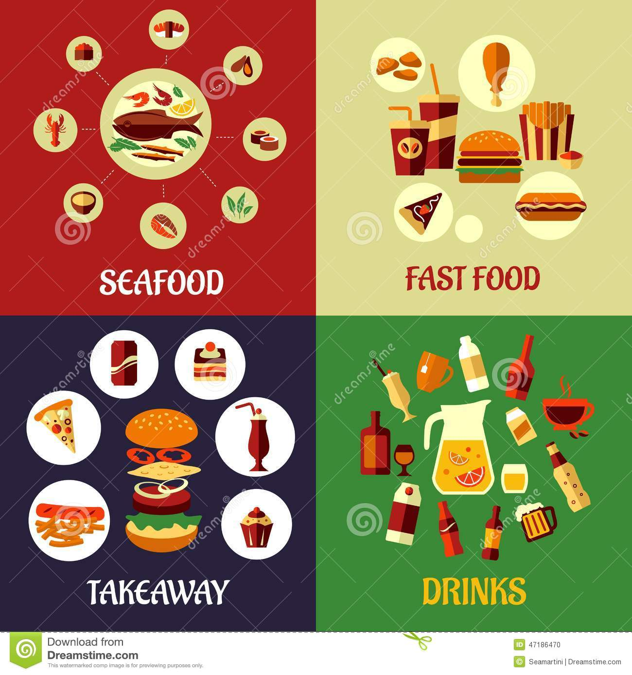Seafood fast food and drinks flat icons stock vector