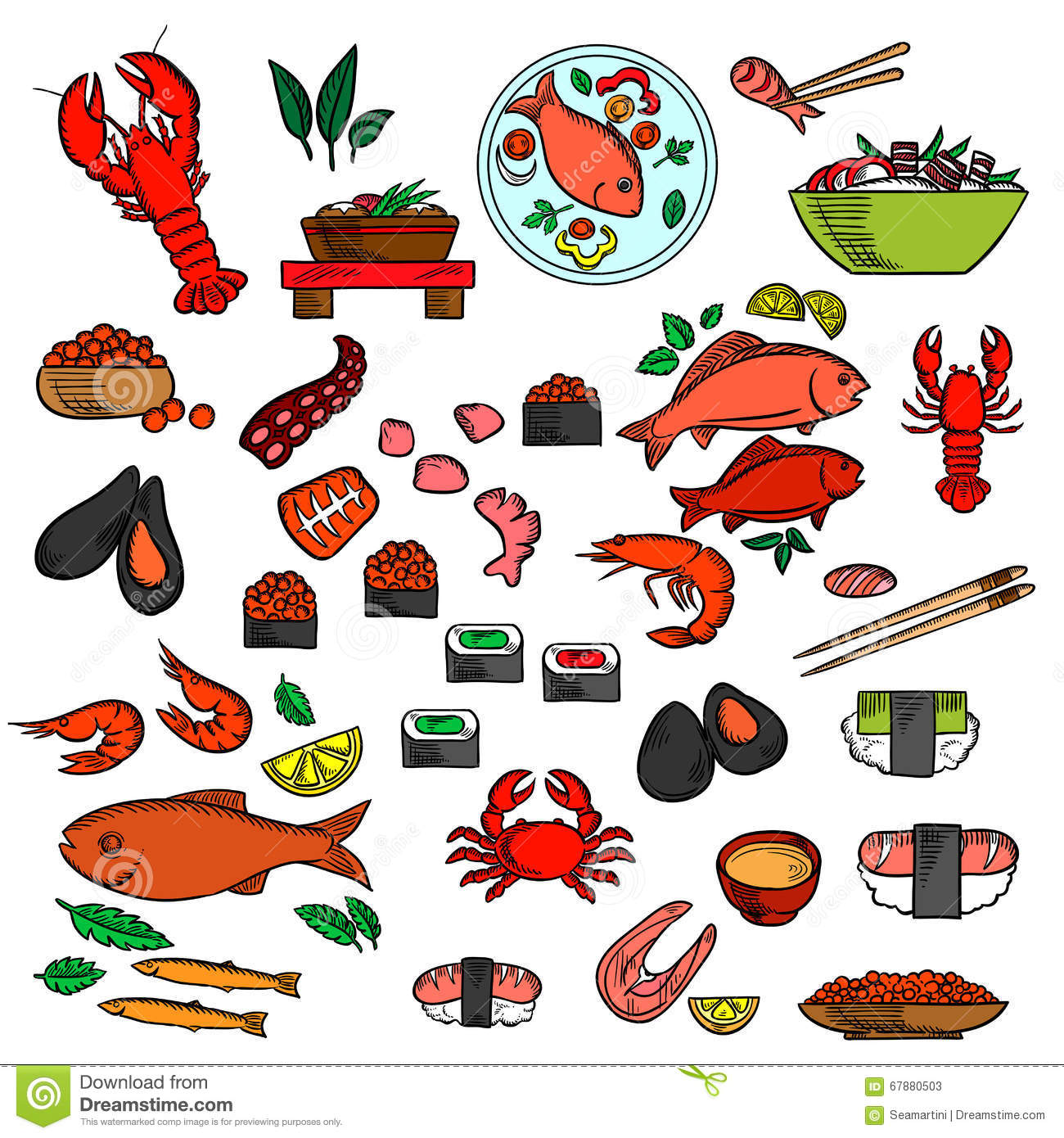 Seafood fish and delicatessen icons stock vector image for Fish and seafood