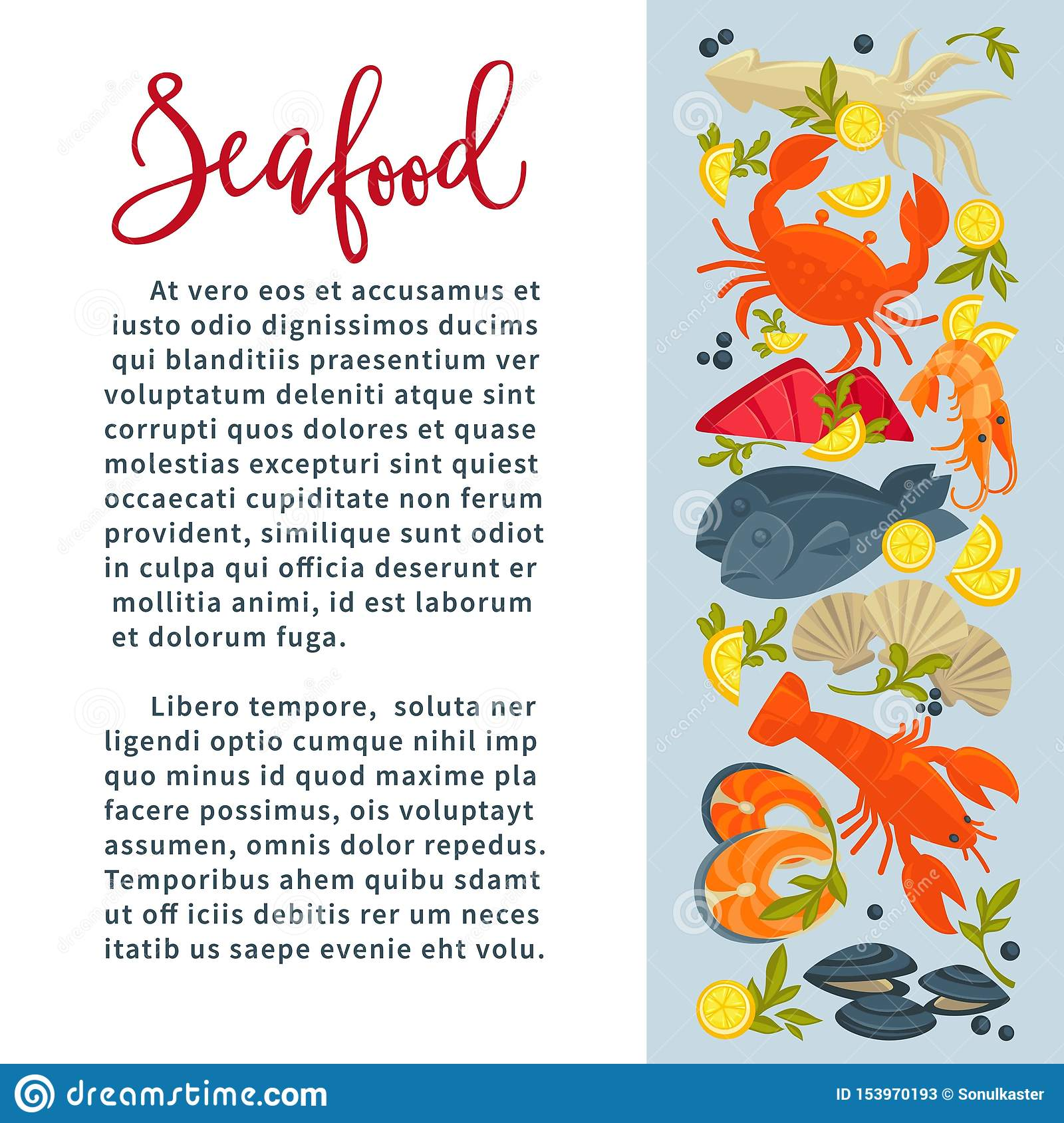 Seafood Fish And Underwater Animals Restaurant Menu Crab And Lobster Stock Vector Illustration Of Marine Pepper 153970193