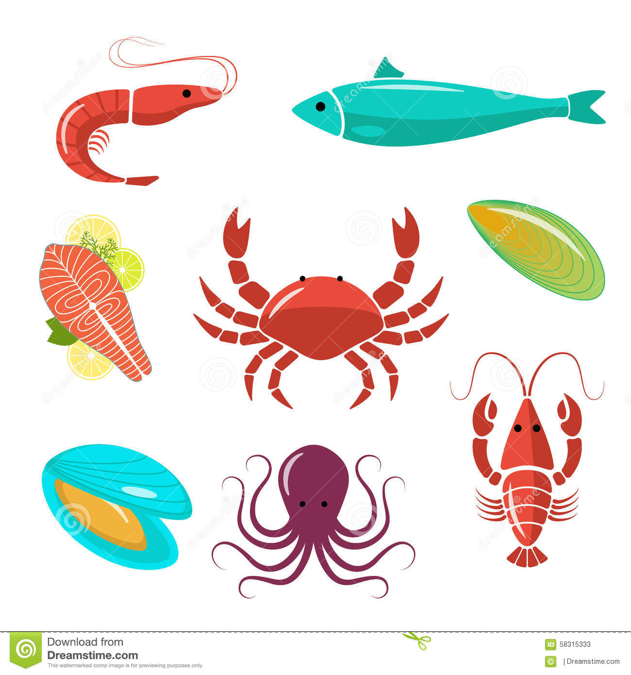 Seafood Flat Kit. Fish, Shrimp, Crab, Mussels, Oyster. Stock Vector - Image: 58315333