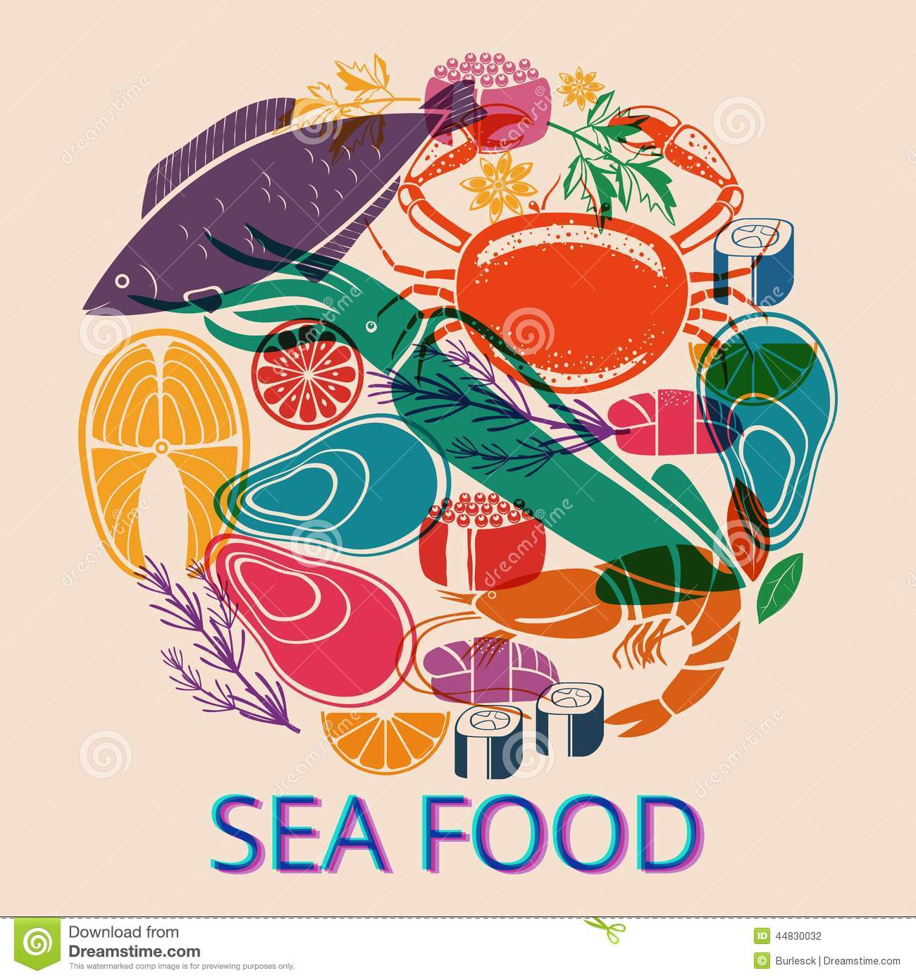 Seafood Graphic With Various Fish And Shellfish Stock ...