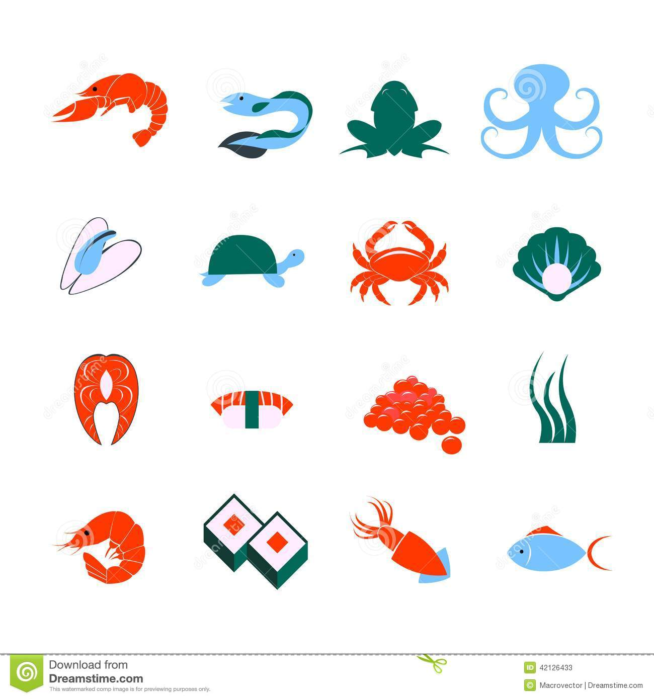 Seafood icons set stock vector. Image of element, frog - 42126433
