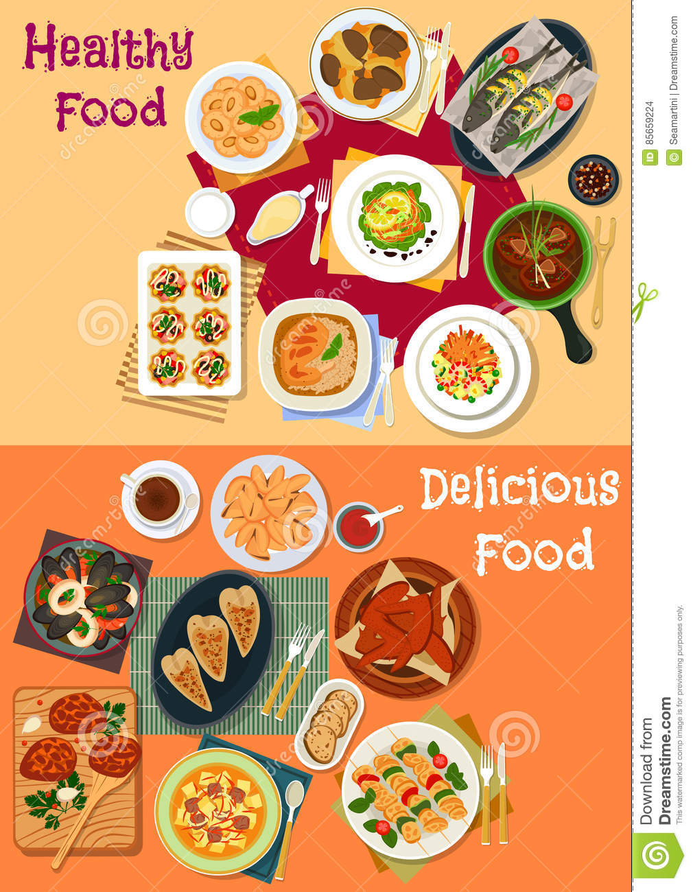 Seafood And Meat Dishes Icon Set For Dinner Menu Stock Vector