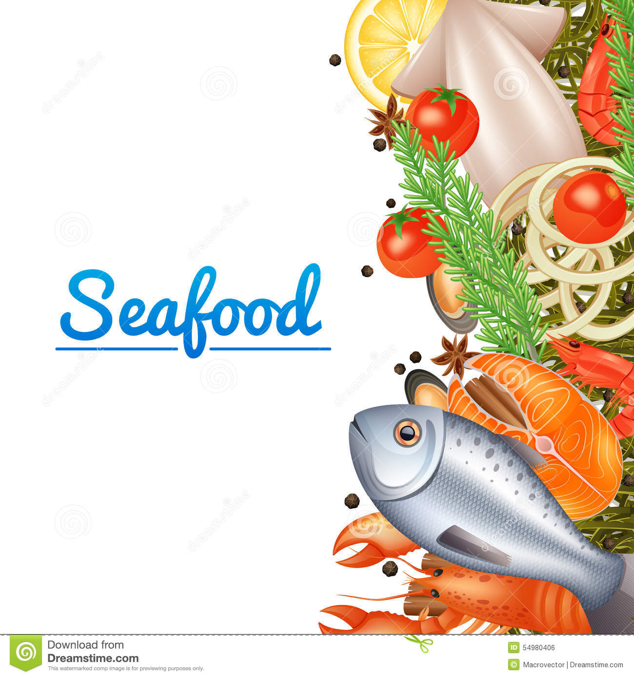 Seafood menu background stock vector illustration of for Max fish menu