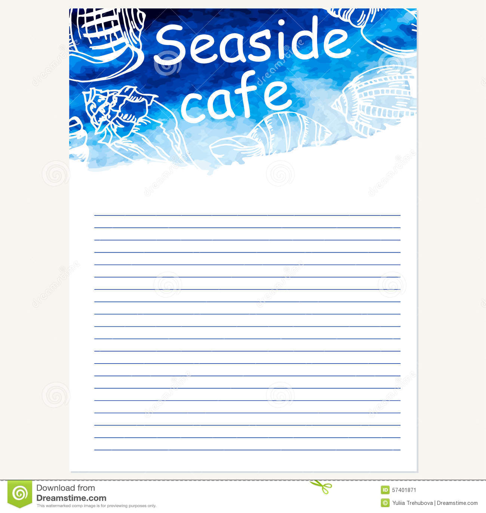 seafood menu design template vector sea watercolor. Black Bedroom Furniture Sets. Home Design Ideas