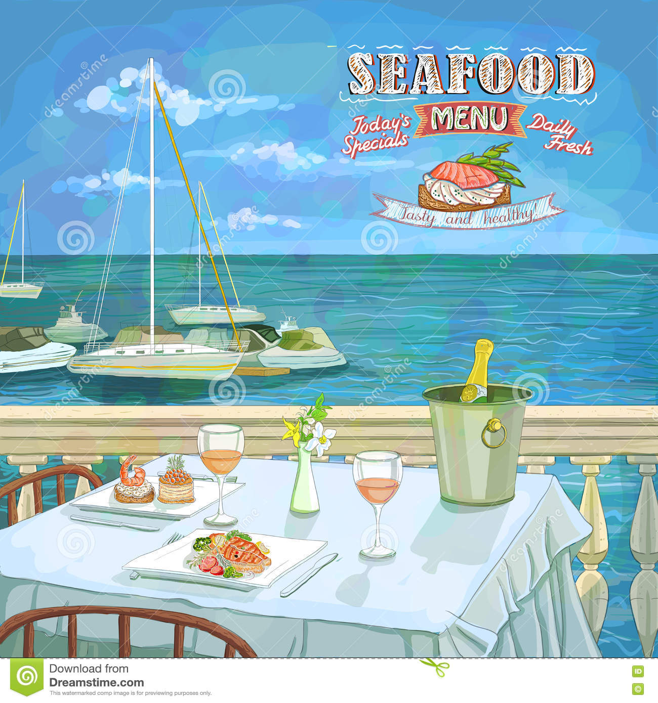 Restaurant table for two - Seafood Menu Hand Drawn Illustration Served Restaurant Table For Two On The Sea Beach