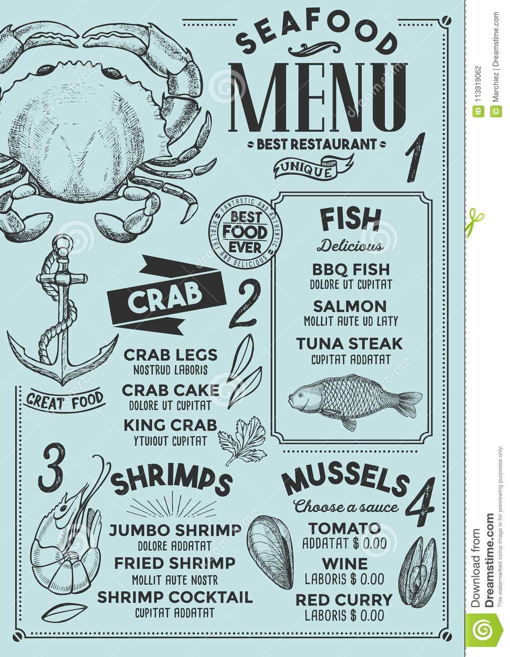 Seafood Menu Restaurant Food Template Stock Vector Illustration Of Hipster Cover 113919062
