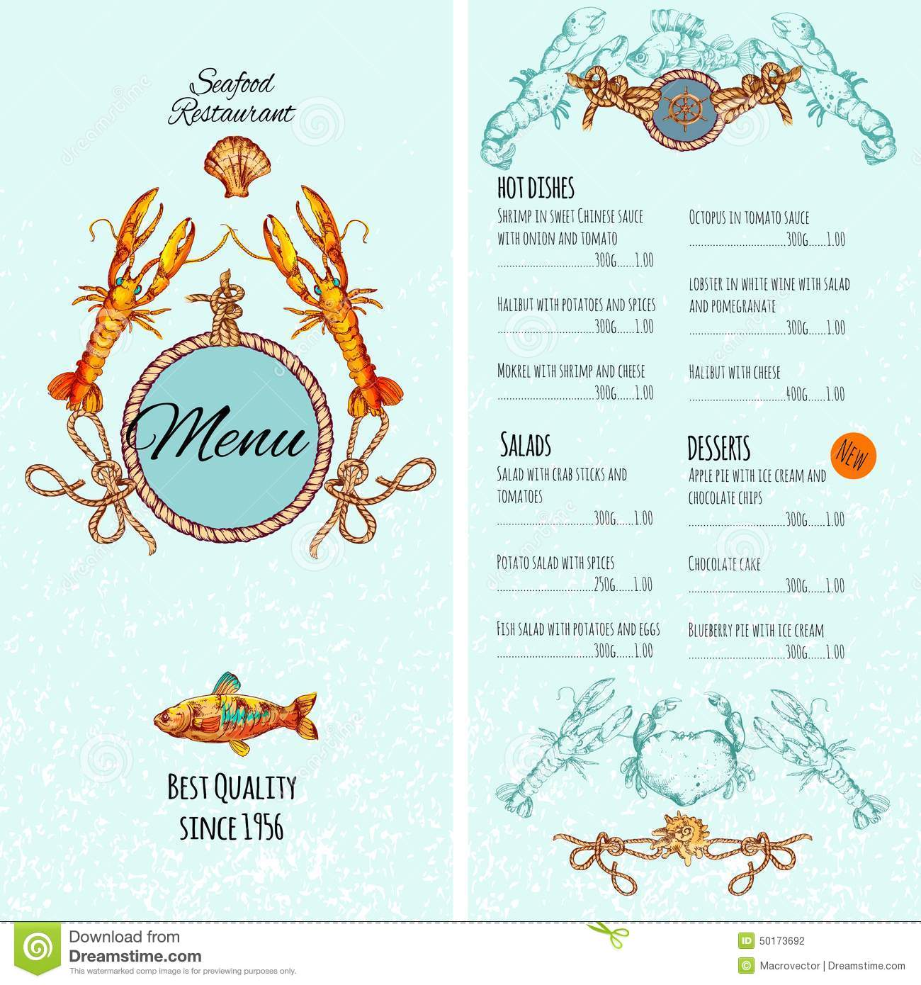 Seafood menu template stock vector illustration of cover for Fish dish menu