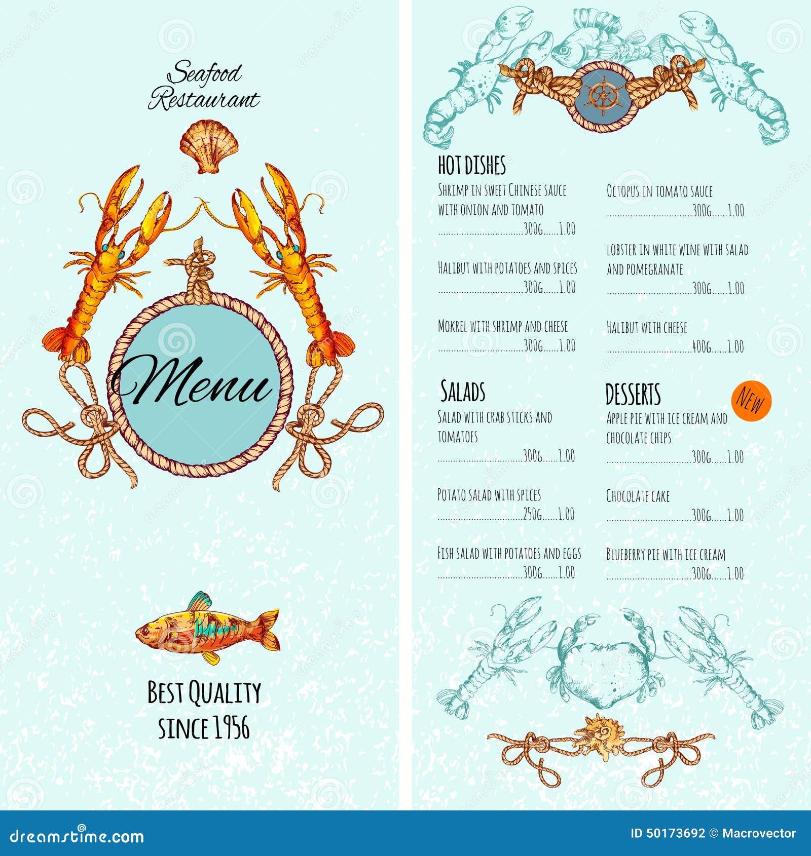 Seafood Menu Template Stock Vector Image 50173692