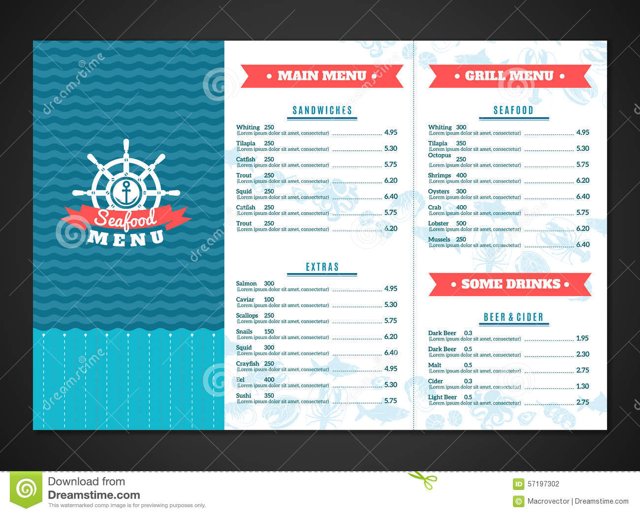 Seafood menu template stock vector image 57197302 for Max fish menu
