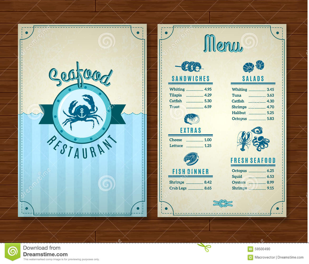 Seafood menu template stock vector image of octopus for Max fish menu