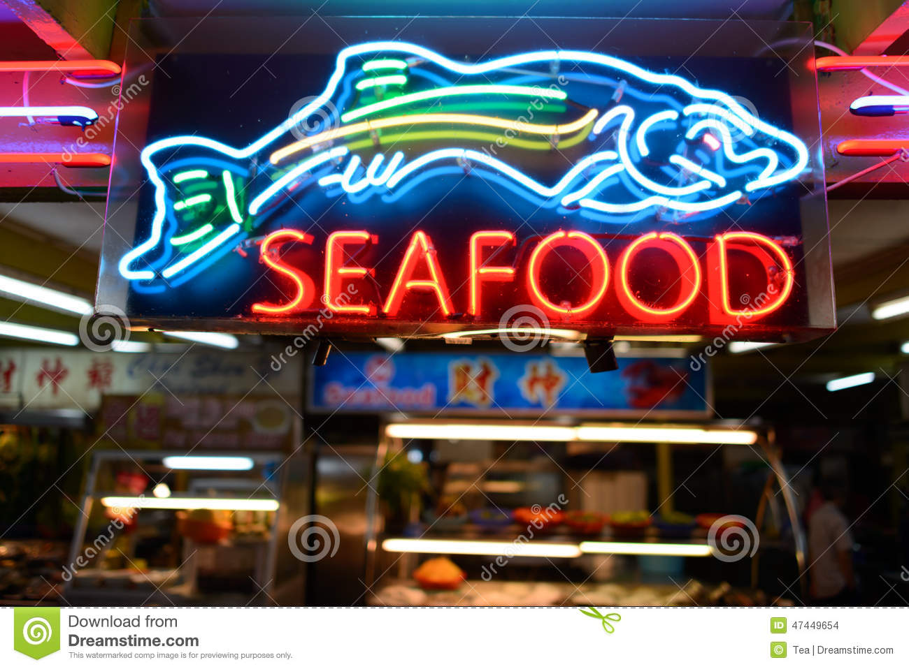 Seafood neon signage stock photo image of market ocean for Fresh fish shop near me