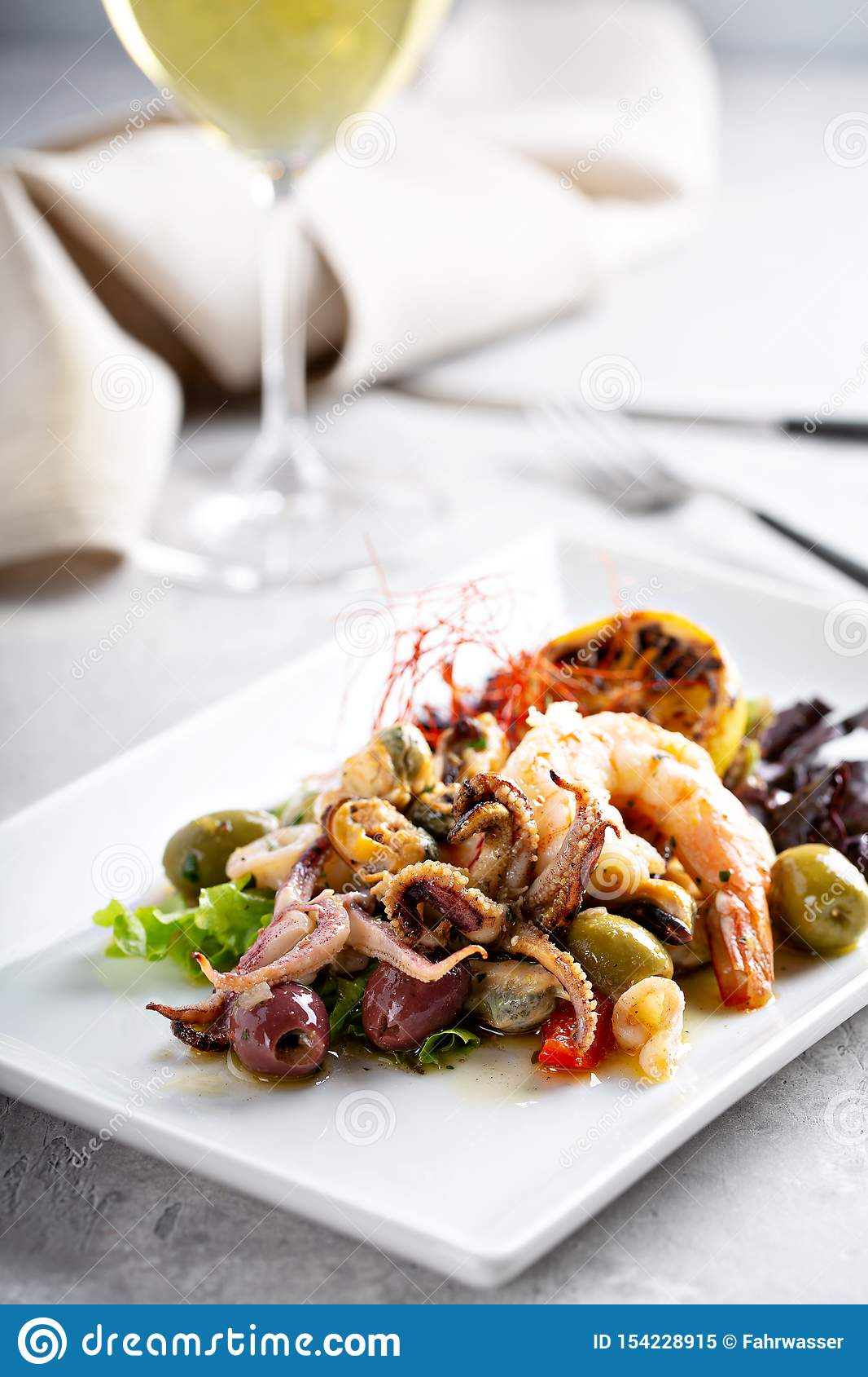 Seafood octopus salad stock image. Image of delicious ...