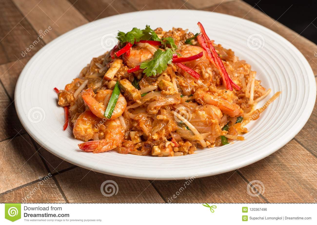 Seafood pad Thai dish of stir fried rice noodles.Thailand`s national dishes