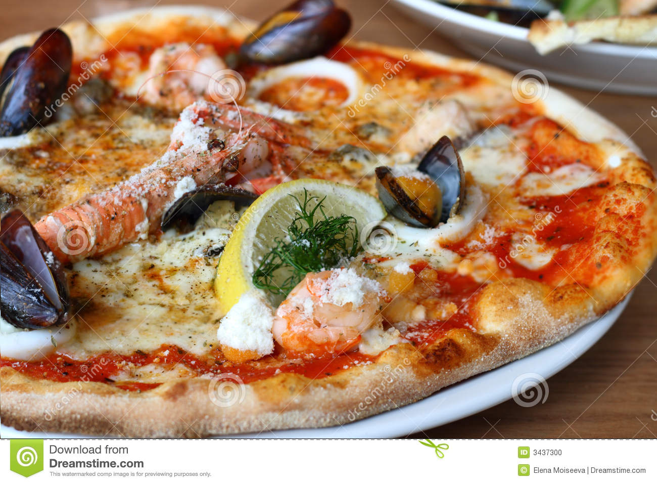 Seafood Pizza Lobster Mussels Stock Photo - Image: 3437300