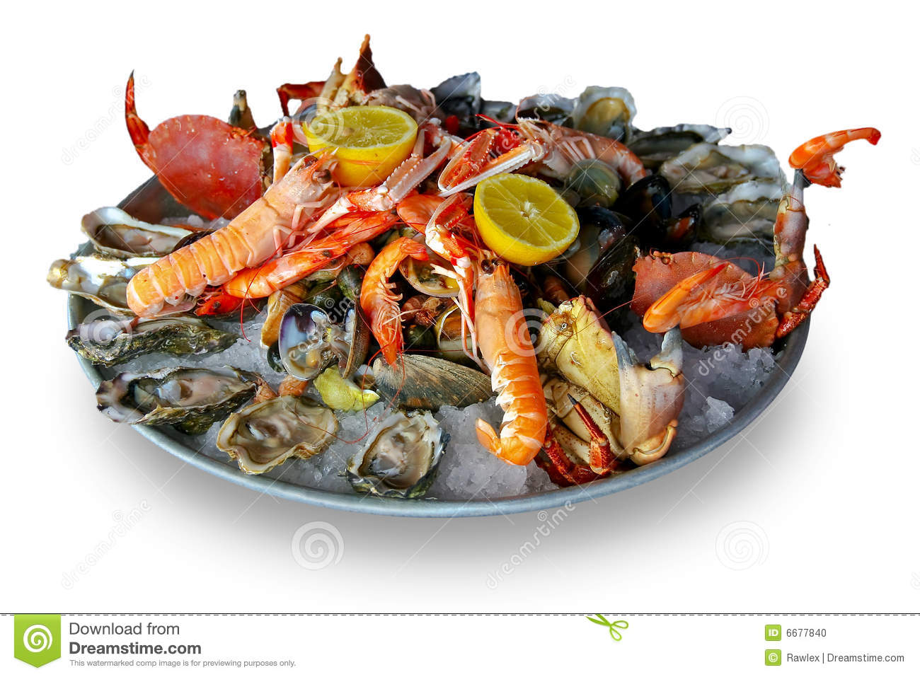 Metal platter with large selection of different kind of seafood.