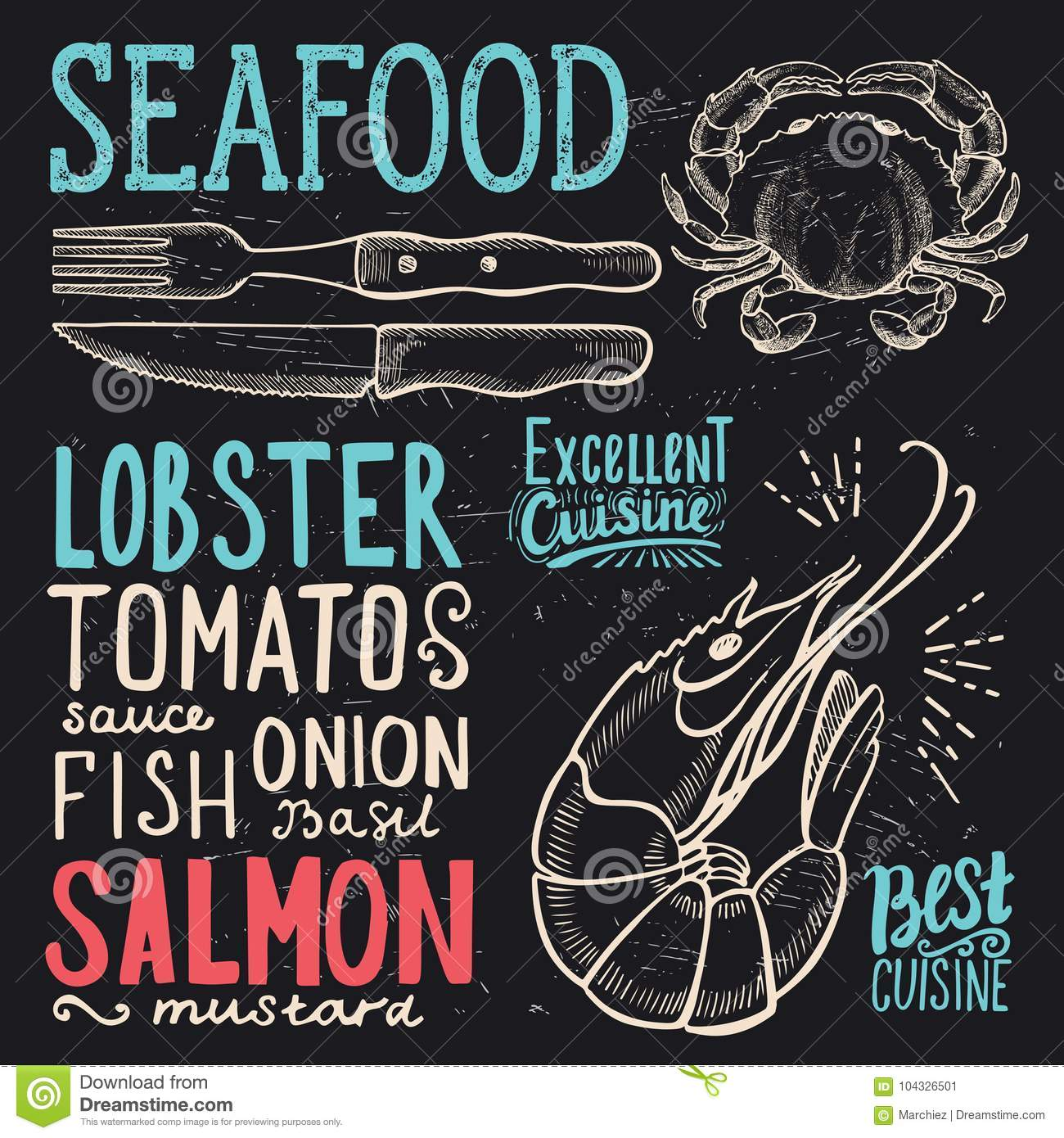 Seafood Poster For Restaurant Food Template Stock Vector Illustration Of Grill Vintage 104326501