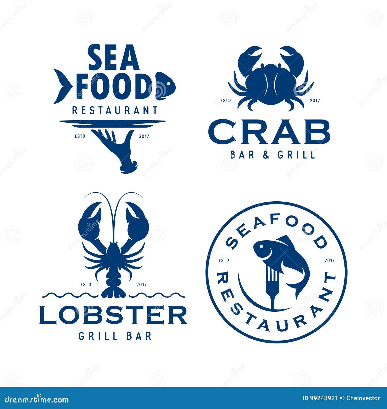 Seafood related labels badges emblems set. Vector vintage illustration.