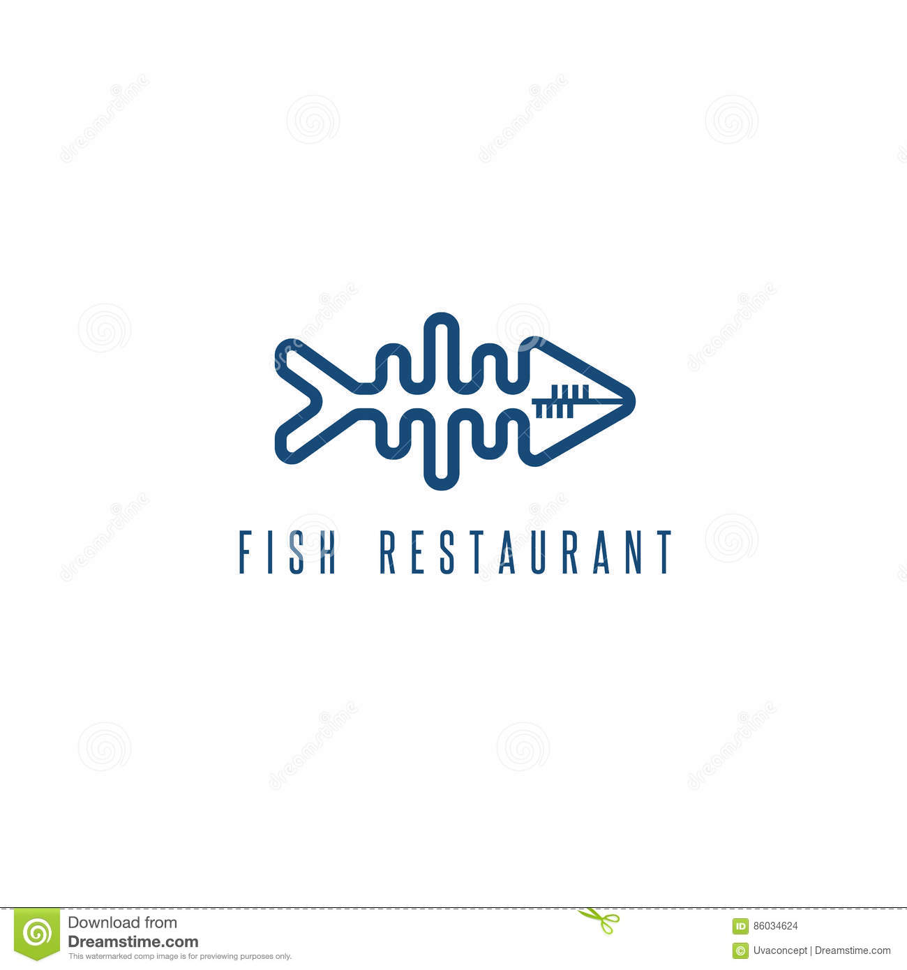 Fish Skeleton Logo Restaurant