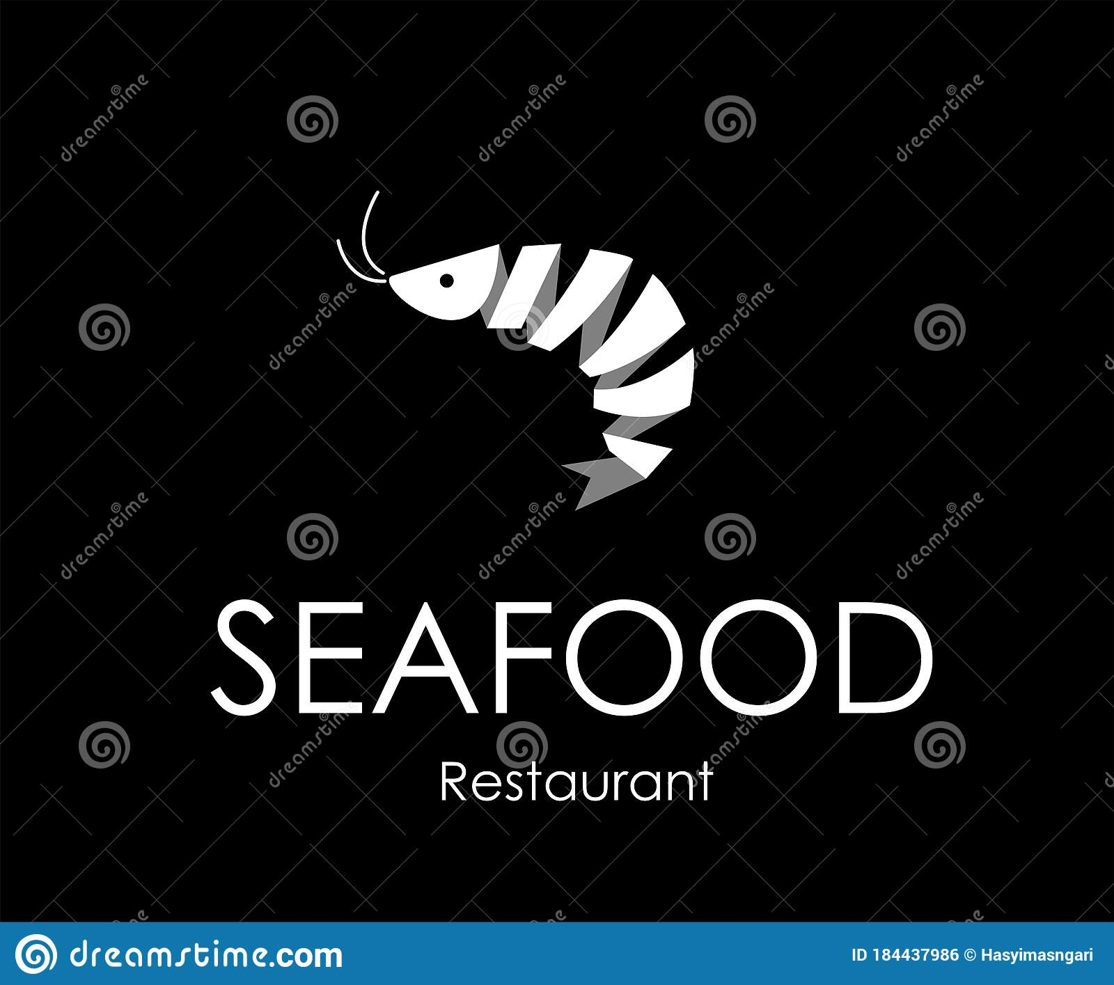 Seafood Restaurant Logo Design Concept With White Shrimp Ribbon Stock Vector Illustration Of Lobster Concept 184437986