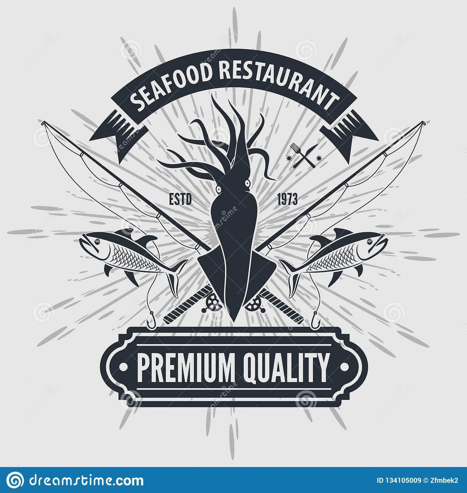 Seafood Restaurant Logo With Squid And Fishing Rods Vintage