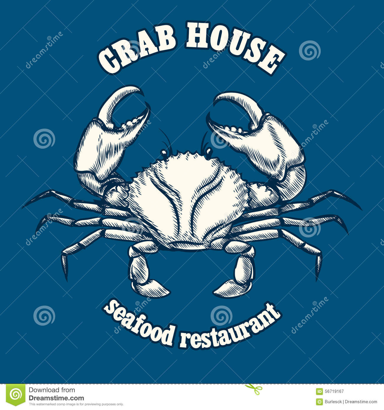 seafood logo with helm and octopus isolated on white