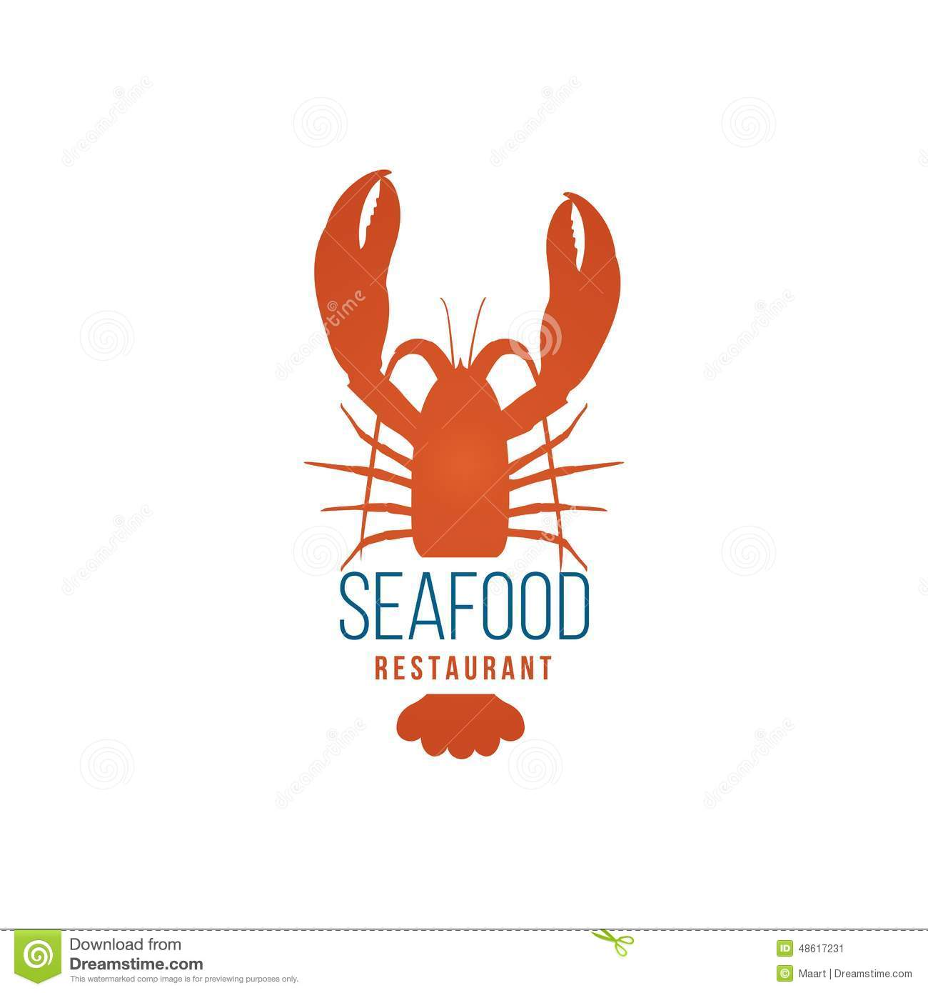Seafood Restaurant Logo Template With Lobster Stock Vector Image 48617231