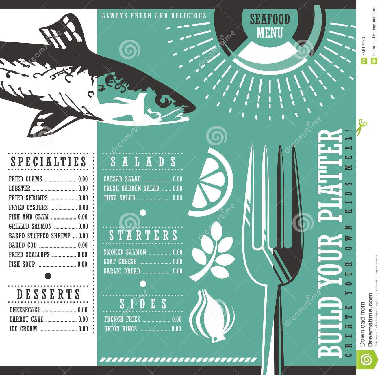 seafood restaurant menu design stock vector