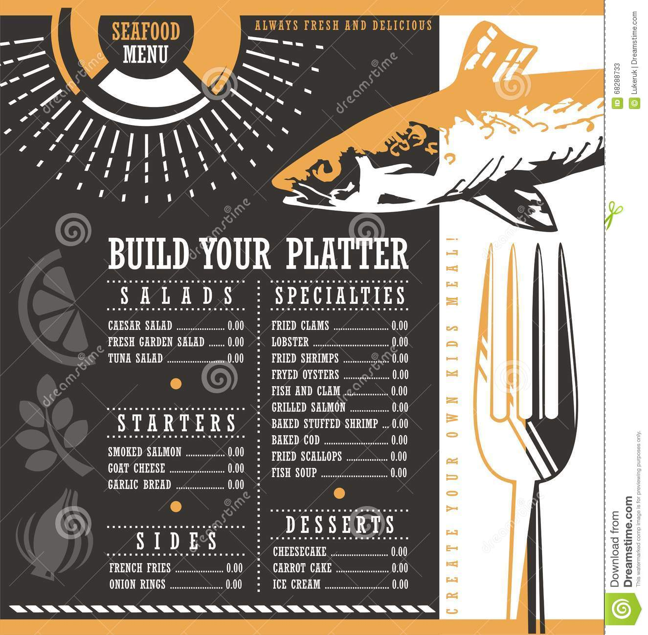 Seafood restaurant menu design cartoon vector
