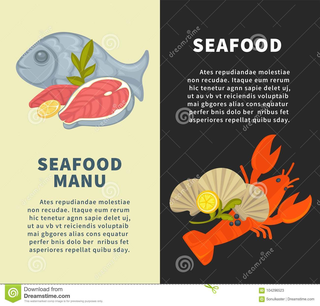 Seafood Restaurant Menu Vector Design Template For Fresh Fish Sea Food Stock Vector Illustration Of Fish Lobster 104296523
