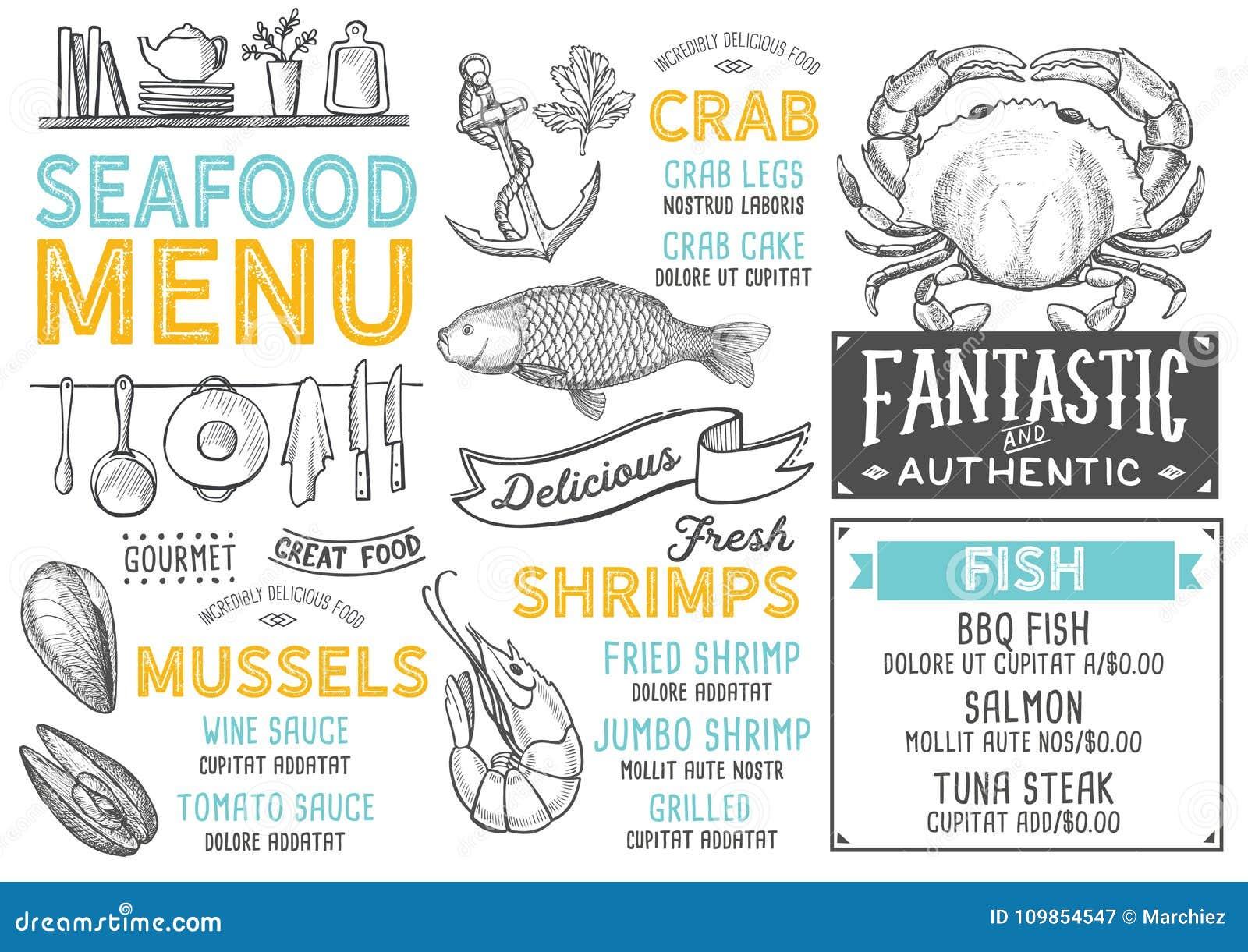 Seafood Menu Restaurant Food Template Stock Vector Illustration