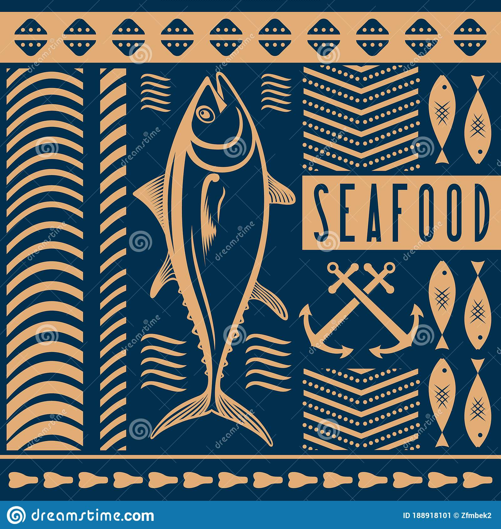 Seafood Restaurant Poster Banner Template With Tuna Fish Vector Illustration Stock Vector Illustration Of Food Cuisine 188918101