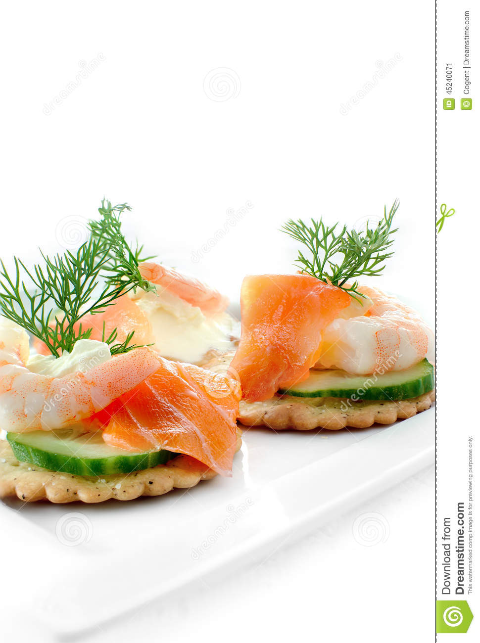 Seafood salad canapes stock photo image 45240071 for Canape garnishes