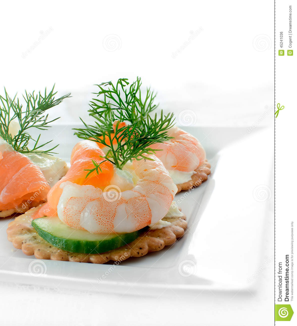 Seafood salad canapes stock photo image 45241036 for Smoked salmon cream cheese canape