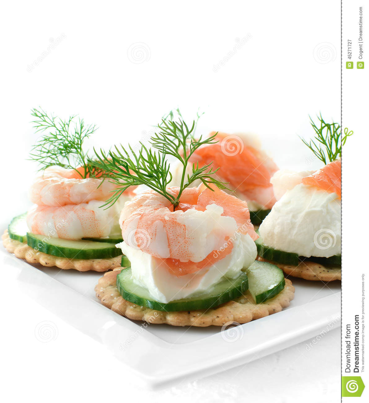 Seafood salad canapes stock photo image 45271727 for Mini prawn cocktail canape