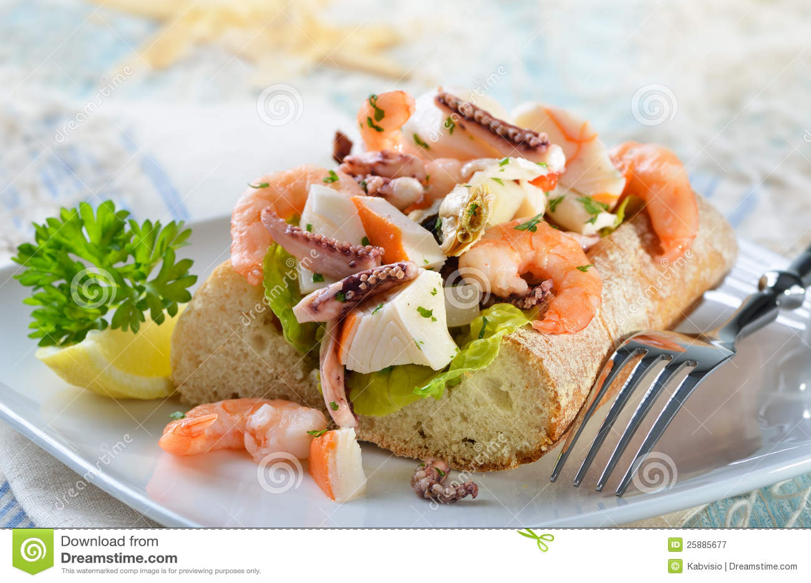 Seafood Salad On Ciabatta Bread Royalty Free Stock Photography - Image ...