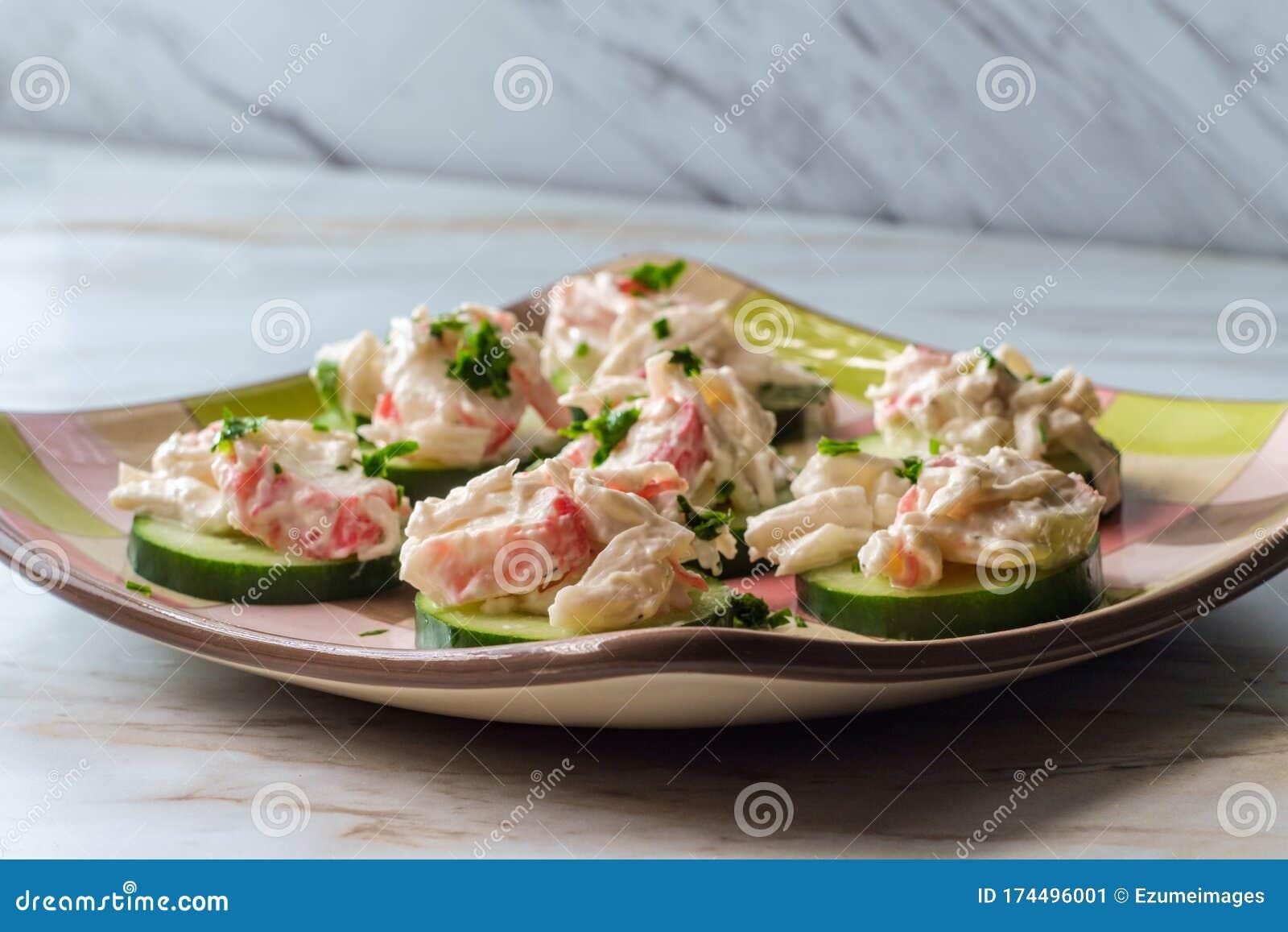 Seafood Salad Cucumber Slices Stock Image Image Of Salad Nutrition 174496001