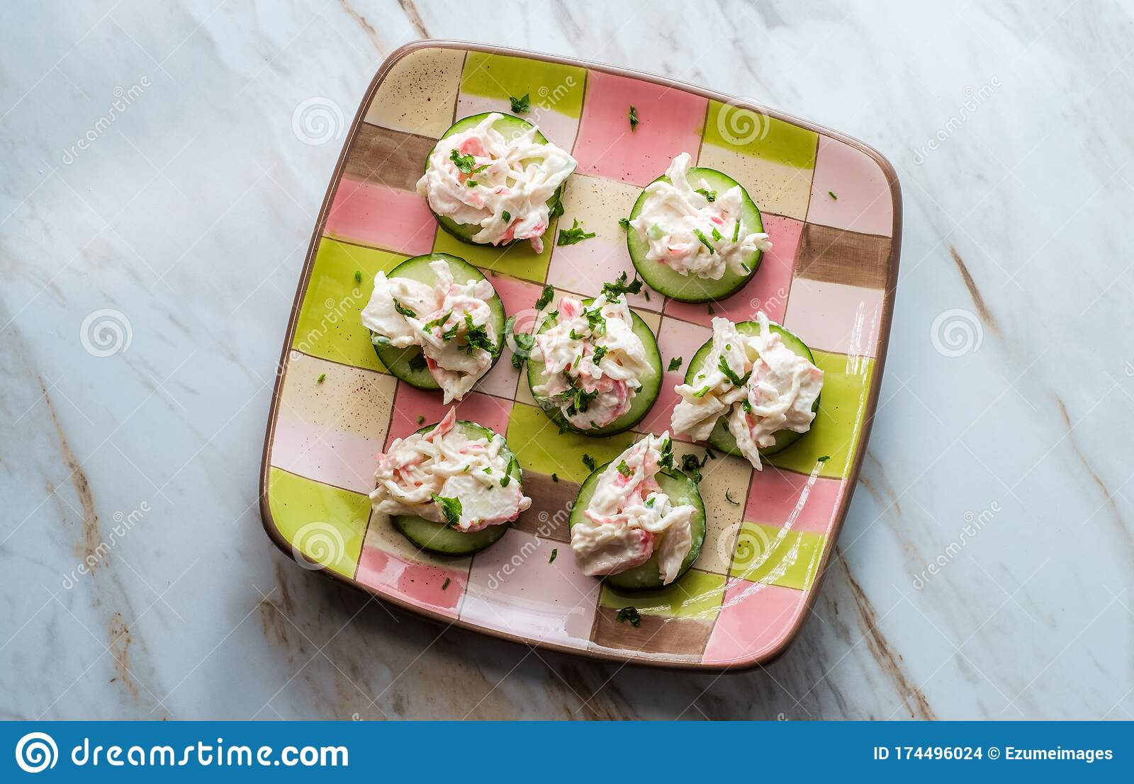 Seafood Salad Cucumber Slices Stock Photo Image Of Green Crab 174496024